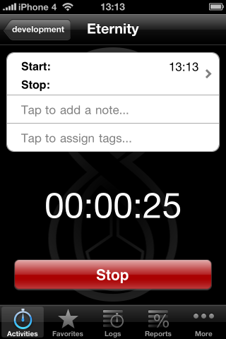 eternity tags - timer screen