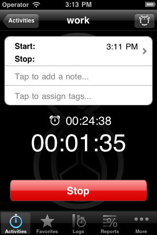 Pomodoro timer on in Eternity Time Log